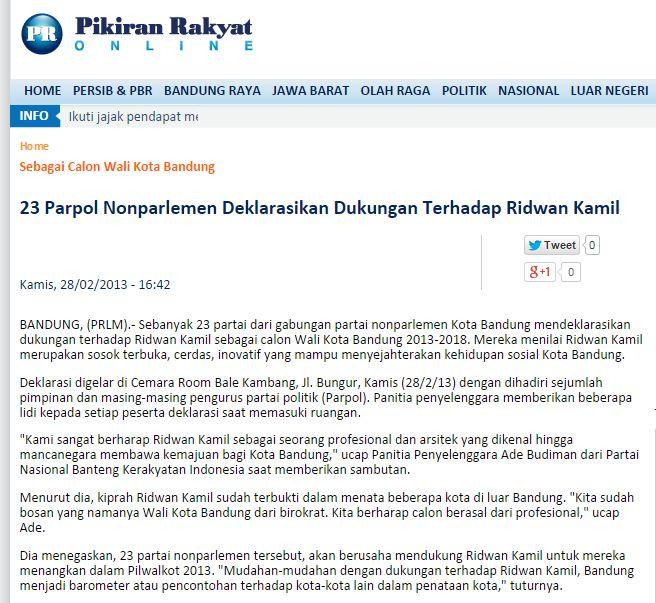 Artikel dukungan 23 Parpol Non Parlemen pada Ridwan Kamil. Sebagian besar Parpol ini kemudian pindah kubu di awal masa kampanye.